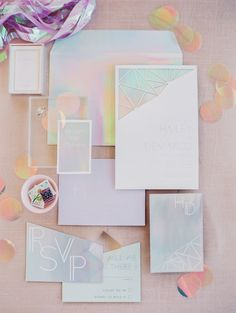 From tables to flowers to stationery to cake to donuts, get ready for a mega dose of eye candy as we share our favourite Iridescent Wedding Ideas! Pastel Wedding Stationery, Pastel Wedding Theme, Wedding Themes, Wedding Designs, Wedding Decorations, Wedding Ideas, Whimsical Wedding Inspiration, Wedding Cake Display, Ceremony Backdrop