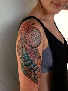 Colorful Dream Catcher Sleeve Tattoo Design.
