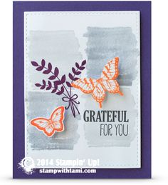 Stampin Up thanksgiving card - Grateful For you For All Things and Papillion Potpourri stamp sets. butterflies #stampinup