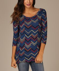 Look at this Navy Blue Chevron Three-Quarter Sleeve Top on #zulily today!