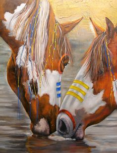 Paintin of Native American War Horses, ponies, taking a drink. Please also visit www.JustForYouPropheticArt.com for colorful Art paintings and prints. Thank you so much! Blessings!