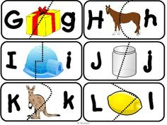 There are 26 self checking puzzle pieces A-Z. Match the capital and lowercase letters. If the match is correct the picture that starts with that letter is complete.