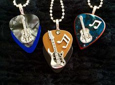 Group Musical Wooden and Metallic guitar pick Pendants Guitar String Jewelry, Guitar Pick Jewelry, Guitar Pick Necklace, Music Jewelry, Ring Necklace, Dog Tag Necklace, Diy Jewelry, Jewelery, Jewelry Design