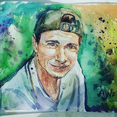 Man portrait. Original watercolor artwork. Made to order.