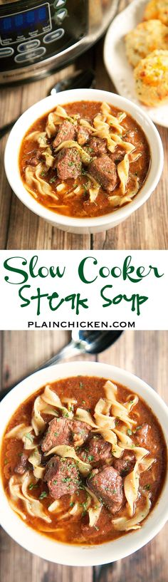 Slow Cooker Steak Soup - sirloin roast, beef broth, onion soup mix, tomato paste, Worcestershire sauce and egg noodles. Cooks all day in the crockpot - even the noodles. Serve with some crusty bread for an easy weeknight meal!