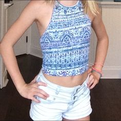 Crop top Xs crop top but fits like an xxs. Used but in great condition. Backless and patterned. I love it but it's too small on me. Aeropostale Tops Crop Tops