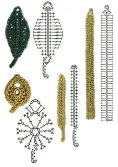 Crochet Leaf Patterns, Crochet Leaves, Crochet Motifs, Granny Square Crochet Pattern, Crochet Diagram, Doily Patterns, Crochet Chart, Crochet Designs, Crochet Doilies