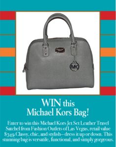 Enter to win this Michael Kors Jet Set Leather Travel Sachel worth $349. Good luck!