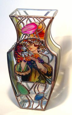 """12"""" x 6"""" x 3"""" (300 mm x 150 mm x 80 mm) Massive, glass, bright, hand-painted decorative vase, product of Czech glass factories. Precise copy of Mucha's artwork."""