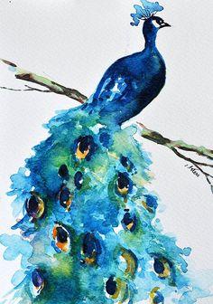 ORIGINAL watercolor painting Peacock painting by ArtCornerShop . - ORIGINAL watercolor painting Peacock painting by ArtCornerShop - Watercolor Peacock, Peacock Painting, Peacock Art, Watercolor Animals, Watercolor Trees, Tattoo Watercolor, Watercolor Landscape, Watercolor Background, Watercolor Illustration