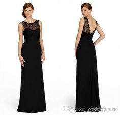 2014 Fashion Free Shipping Cheap Black Chiffon Sheath Crew Neck Lace Sash Zipper Floor Length Bridesmaid Dress DL1309866