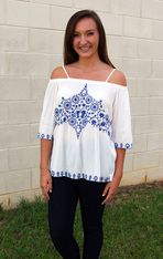 Embroider Me Blue Blouse