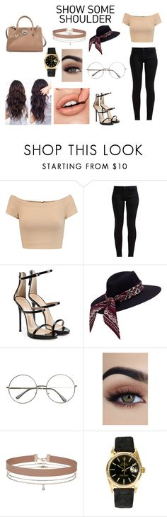 """""""Be on trend"""" by mathildepl07 on Polyvore featuring mode, Alice + Olivia, 7 For All Mankind, Giuseppe Zanotti, Miss Selfridge, Rolex, Jimmy Choo et showsomeshoulder"""