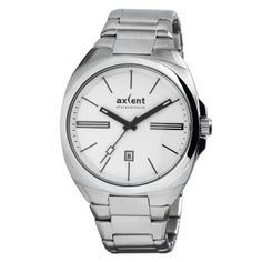 Click Image Above To Purchase: Axcent Mens Impact Stainless Watch - Silver Bracelet - White Dial - Metal Fashion, Casio Watch, Unisex, Omega Watch, Rolex Watches, Stainless Steel, Bracelets, Silver, Image