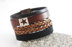 Bracelet manchette cuir noir et marron étoile - emmafashionstyle.fr