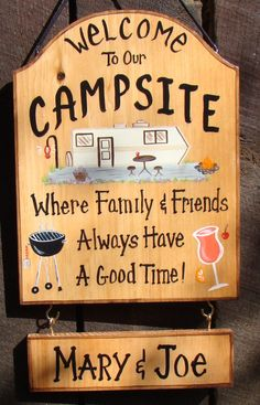 Custom Camper Sign  for Camp  or RV Lake  Campfire or Backyard Home Firepit…