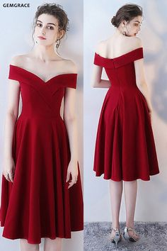 63d3dcba5d4 Burgundy Red Off Shoulder Homecoming Party Dress #HTX86089 at GemGrace.  #2019 #PromDresses