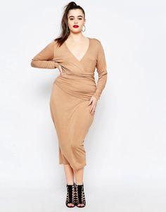 Image 4 ofMissguided Plus Wrap Front Pencil Dress