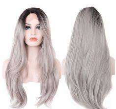22 Long Straight Black Root Ombre Grey Lace by PartyCreations17