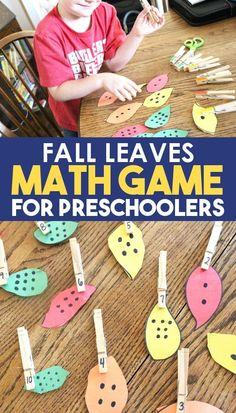 Easy Math Games, Educational Activities For Preschoolers, Kindergarten Math Games, Seasons Activities, Toddler Activities, Preschool Activities, Educational Toys, Learning Games, Preschool Fall Theme
