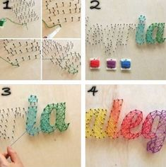 Several different links to string art tutorials.  This home project is so simple. It's amazing what some string and a few nails can create!: