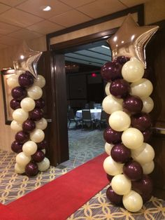Red carpet and balloon columns with star for Corporate breakfast meeting… Graduation Decorations, Ceremony Decorations, Balloon Decorations, Ballon Column, Pinning Ceremony, College Graduation Parties, 32 Birthday, Balloon Arch, Grand Opening
