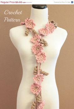 Crochet Pattern, Crochet Flower Scarf Pattern by OnTheHook