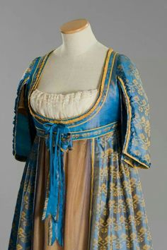 Regency gown with open robe. Stunning materials!