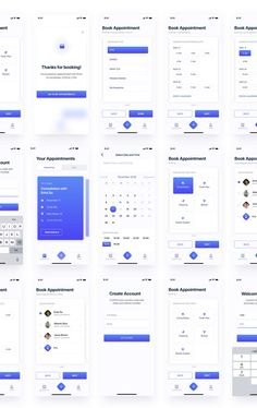 Free UI kit for booking an appointment for the Dental clinic application designed in Adobe XD. Thanks to Olha Uzhykova for sharing booking appintment app UI kit. Don't forget to appreciate great… Web Design, Ios App Design, Interface Design, User Interface, Design Layouts, Flat Design, Design Ideas, App Wireframe, Ui Design Mobile