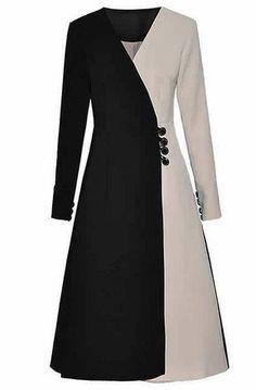 - Vestido Elegante Preto e Branco - Material: lanon Westfront - Legging Plus Size, Indian Gowns Dresses, Kurti Designs Party Wear, Pants For Women, Clothes For Women, Patchwork Dress, Muslim Fashion, Retro Dress, Coat Dress