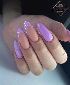 Edgy Nails, Fun Nails, Nail Polish Designs, Nail Art Designs, Almond Nails Designs Summer, Soft Pink Nails, Colorful Nail Designs, Purple Nail Designs, Autumn Nails