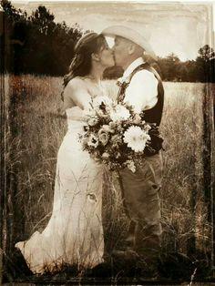Rustic wedding photo of bride and groom