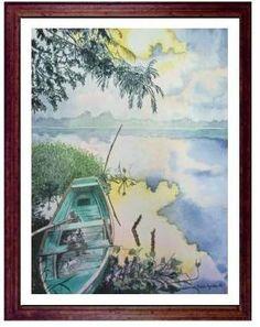 lancha rio acuarela watercolor