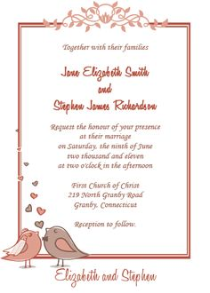 WEDDING INVITATIONS FREE | ... Birds - Birdie Couple Free Wedding Invite | Printable Invitation Kits