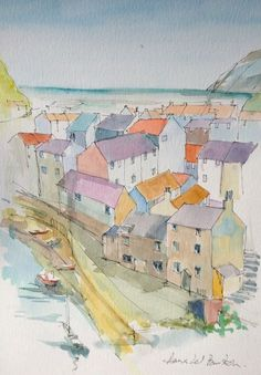 Original Watercolour Painting -  Staithes -  Signed Annabel Burton