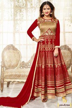#Red Color Tv Celebrity Party Anarkali Suit Online #TvActresssalwarsuit, #jeevikadresses, #krystledsouzasalwarkameez  More : http://www.pavitraa.in/catalogs/indian-celebrity-krystal-dsouza-salwar-suits/?utm_source=mk&utm_medium=pinterestpost&utm_campaign=20May