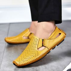 a7441a0b4fe3 Men Fashion Leather Sandals Plus Size 45 46 47 Casual Slip-on Summer Shoes 5