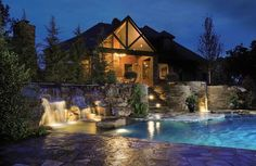 nice waterfall lighting Photos courtesy of Caviness Landscape Design, Inc. Photography by K.O. Rinearson