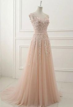 tulle evening dress pink round neck lace applique tulle long prom dress