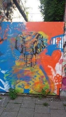 Der Elefant - Stencil an der Tumblingerstraße, München