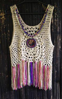 Handmade Crochet Fringed Boho Top with Vintage Mirror от SpellMaya
