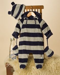 Velour Baby Boy Snowsuit