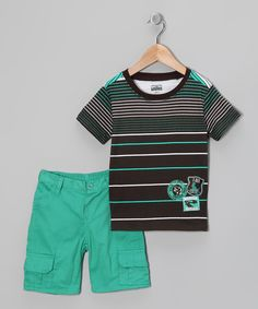 Look at this Little Rebels Brown & Green Stripe Tee & Cargo Shorts - Toddler on #zulily today!