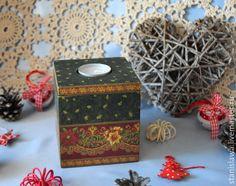 Купить Новогодний подсвечник шкатулка - новогодний подарок, новогодний интерьер, подсвечник, подсвечник новогодний