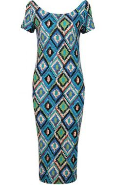 Blue multicolour aztec diamond print midi dress. Featuring a rounded neckline and a short cap sleeves. Bodycon fit.   http://www.pussycatlondon.com/latest-fashion-clothing-1/blue-multi-colour-aztec-diamond-print-midi-dress.html?color=Blue=8