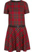 Karl Lagerfeld|Penny faux leather-trimmed tartan cotton dress|NET-A-PORTER.COM