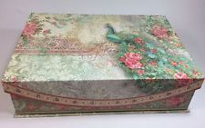 Punch Studio Peacock Rose Keepsake Decorative Storage Box Floral Flip Top New