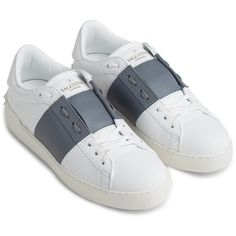Valentino offers a wide range of luxury shoes, sneakers, heels, clothing, and handbags and is one of the best known fashion brands worldwide. Shop the Valentino collection! White Leather Shoes, Top Shoes, White Shoes, Blue Shoes, Real Leather, Valentino Trainers, Valentino Shoes, Studded Sneakers, White Sneakers
