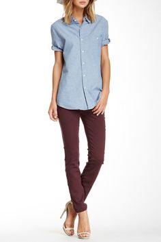 Love the color on these Mid Rise Skinny Jeans. Perfect for end of summer, almost-fall looks.