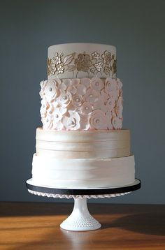 Gold and pink wedding cake with black trim | Charm City Cakes West #gold #pink #cake #wedding